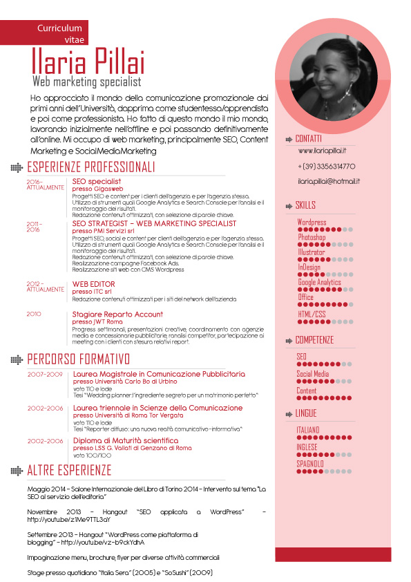curriculum vitae di ilaria pillai web marketing specialist